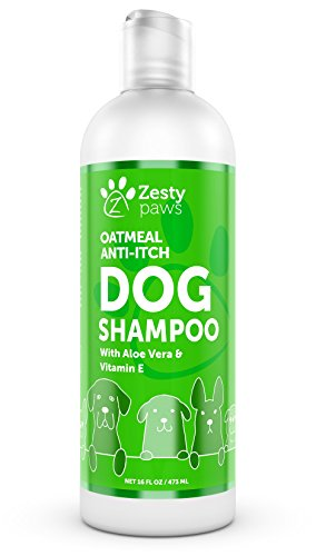 Zesty Paws Dog Shampoo with Oatmeal & Aloe Vera - Natural Grooming Pet Wash for Itchy & Sensitive Skin + Dandruff & Coat Odors - Gentle Anti Itch Flea Formula - Vanilla Bean Scent - 16 OZ