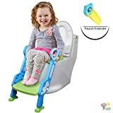 Early Things Company Potty Training seat with Ladder, Step-Stool Ladder for Kids and Baby, Non-Slip Kids Toilet Training Seat, Toddlers Potty Ring for Round and Oval Toilets, Includes Faucet Extender