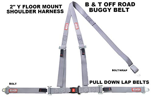 Racerdirect.net Gray SEAT Belt Race Style 3 Point Harness Bolt in Y Floor Mount Push Button