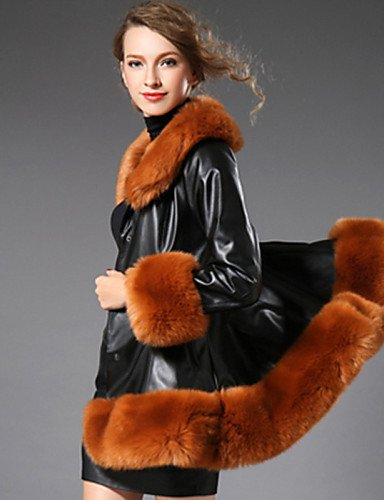 Coat Plus 2XL Lapel Cocktail Sleeve Fall Fur Casual Long YRF Sexy IJKMN Daily BROWN Color Shawl Simple Block Women's Party Size qwgR1EPf