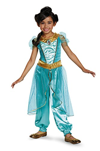 Princess Jasmine Costumes Girls (Jasmine Deluxe Disney Princess Aladdin Costume, SMALL/4-6X)