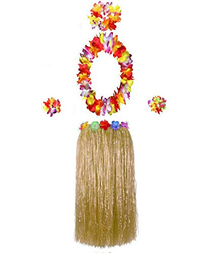 Hawaiian Luau Hula Grass Skirt with Large Flower Costume Set for Dance Performance Party Decorations Favors Supplies (32