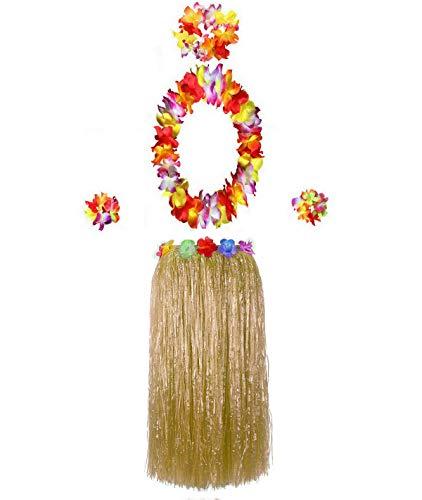 Hawaiian Luau Hula Grass Skirt with Large Flower