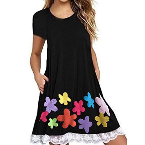 Dress Casual Floral Printed Boho Pockets Mini Dress Sleeveless Scoop Neck Summer Beach Casual Midi A Line Dress Women (XXL,1- Black)