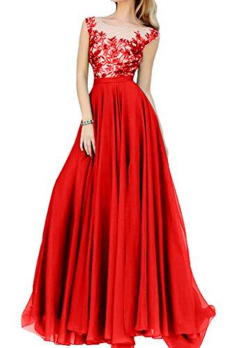 Partykleider linie Chiffon Spitze Festlich La Herrlich Abiballkleider A Braut Abendkleider Rot mia Bodenlang qggYv