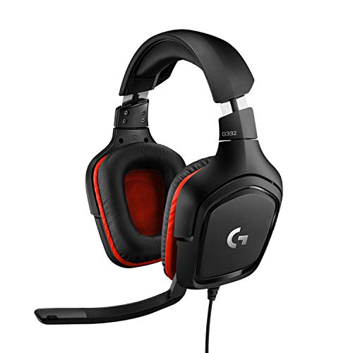 Logitech G332 Wired Gaming Headset, 50 mm Audio Drivers, Rotating Leatherette Ear Cups, 3.5 mm Audio Jack, Flip-to-Mute Mic, Lightweight for PC, Mac, Xbox One, PS4, Nintendo Switch - Black/Red