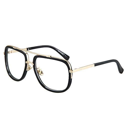 Vintage Mens Oversized Big Square Metal Frame Myopia Optical Eyeglasses Prescription Eyewear (black 59)