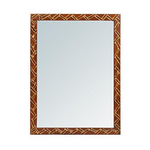 999Store Handmade Wooden Decorative Bathroom Mirror Brown Zigzag Lines (24×18.