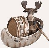 5 Piece Moose and Canoe Ceramic Coaster Gift Set