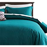 100% Damask Cotton Duvet Cover, Teal Blue Duvet Cover Queen Size, 400 Thread Count Sateen Weave, Luxury Pinstripe Pattern Royal Hotel Style Bedding, Silky Soft Breathable Durable and Skin Friendly