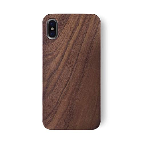 Wooden Case - iATO iPhone X/XS Wooden Case - Real Walnut Wood Grain Premium Protective Slim Back Cover. Unique & Classy Snap on Bumper Accessory for iPhone X /10 (2017) and XS (2018) | Supports Wireless Charging