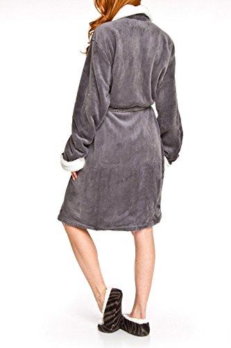 6fe4281b33 Adrienne Vittadini Women s Plush Sherpa Lined Bath Robe   Sherpa Printed  Slippers Set