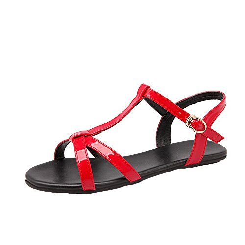 AalarDom Womens Buckle Open-Toe Low-Heels Patent Leather Solid Sandals Red(qp)