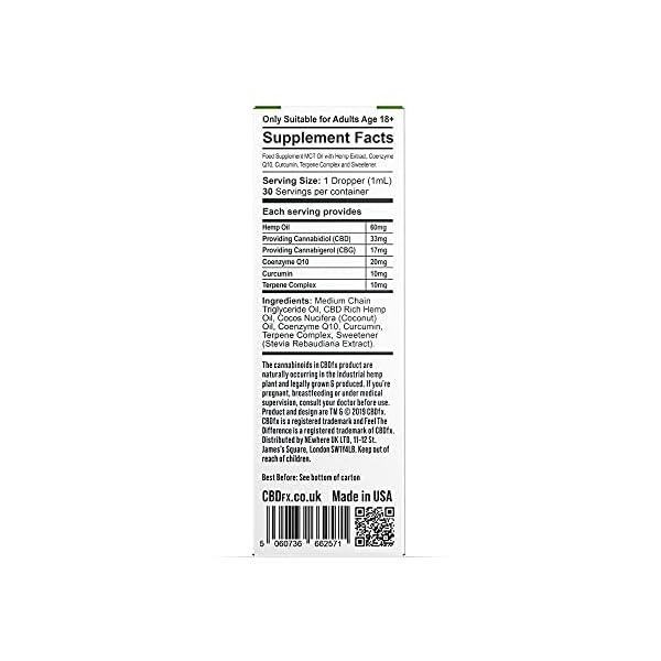 CBDfx CBD + CBG Oil Wellness Tincture – 1000mg CBD/500mg CBG per 30ml Bottle