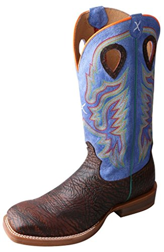 Twisted X Men's Ruff Stock Royal Blue Cowboy Boot Square Toe Chocolate 10 D(M) US