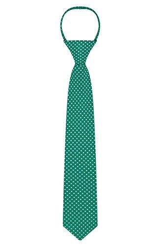 "Jacob Alexander Polka Dot Print Boys 14"" Polka Dotted Zipper Tie - Forest Green"