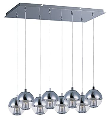ET2 E22786-81PC Reflex 8-Light LED Linear Pendant, Polished Chrome Finish, Mirror Chrome Glass, LED Bulb, 56.4W Max., Dry Safety Rated, Low-Voltage Electronic Dimmer, Shade Material, Rated Lumens
