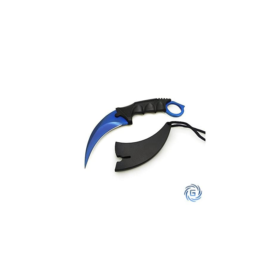 Tactical Karambit Hawkbill Neck Knife with Sheath and Cord Blue Blade