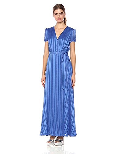 Wild Meadow Women's Satin Stripe Wrap Dress M Azure Blue (Dress Satin Wrap Front)