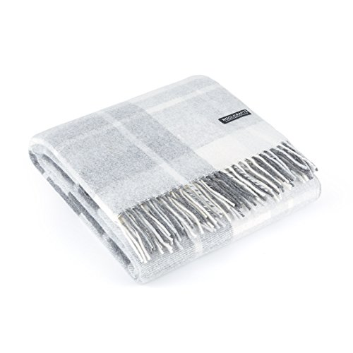 "Cashmere Merino Wool Throw Blanket Plaid - Grey White 55"" x 70"" (Plaid Grey)"