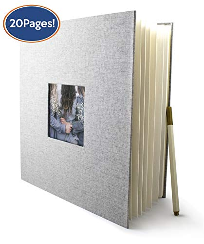 (Bastex Large DIY Photo Picture Album. Grey Hard Cover Fabric Frame with Self-Adhesive Magnetic Pages to Make The Perfect Scrapbook or Adventure Book, Family Albums. 8x10 Pages)