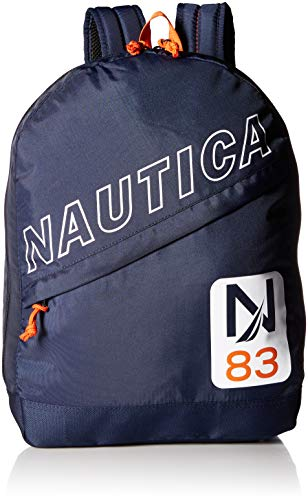 - Nautica Men's Diagonal Zip Polyester Resistant Laptop Backpack, Navy/Patch), One Size