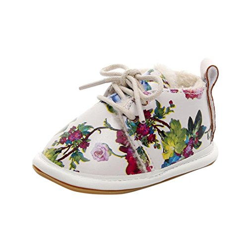 Bambi Costume Girl (Newborn Baby Girls Boys Winter Floral Crib Shoes Soft Sole Anti-slip Lace-up Warm Sneakers (12-18Month, Multicolor))