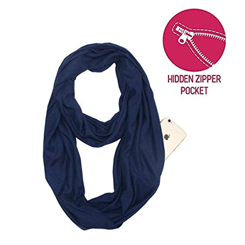 (Lucky Leaf Women Lightweight Cozy Infinity Loop Scarf with Various Artist Print (P-Navy))