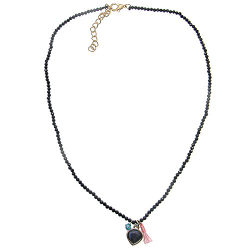 LUCKYOON Natural 2mm Black Crystal Beads strand Necklace Blue Agate Heart Pendant Choker (Agate Disc Pendant Bead)
