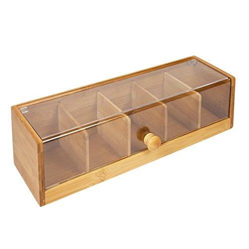 woodluv Caja de 5 compartimientos para bolsitas de te en bambu, acrilico y Natural