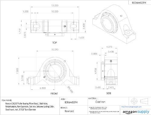 Amazon.com: rexnord za2307 Rodamiento de Rodillo Pillow ...