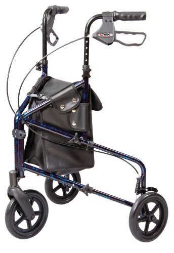 (Carex 3 Wheel Walker for Seniors, Foldable, Rollator Walker with Three Wheels, Height Adjustable Handles)