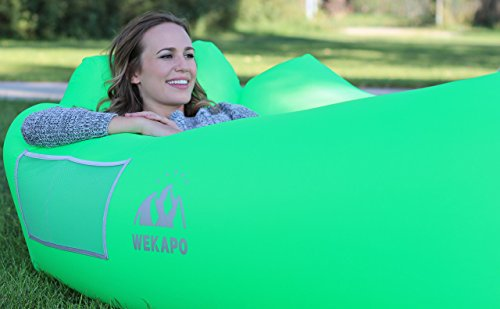 WEKAPO Inflatable Lounger Air Sofa Hammock-Portable,Water Proof& Anti-Air Leaking Design-Ideal Couch for Backyard Lakeside Beach Traveling Camping Picnics & Music Festivals (Green)