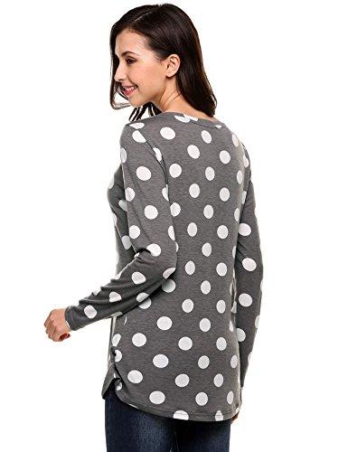 Goldenfox Women's Dot Circular Arc Heml Blouse Long Sleeve Loose Tunic Tops (Gray,Small)