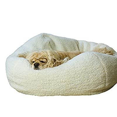 Carolina Pet Company White Sherpa Puff Ball Dog Bed