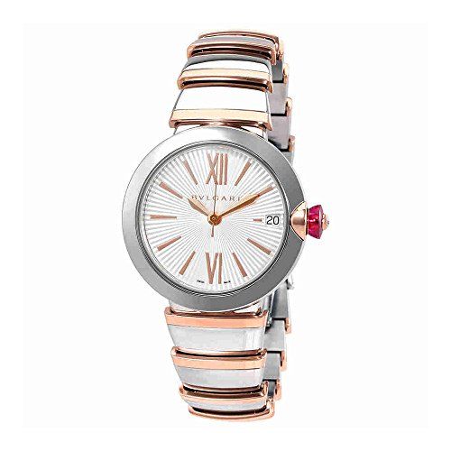 Bvlgari LVCEA Automatic Silver Opaline Dial 18kt Pink Gold and Steel Ladies Watch 102197