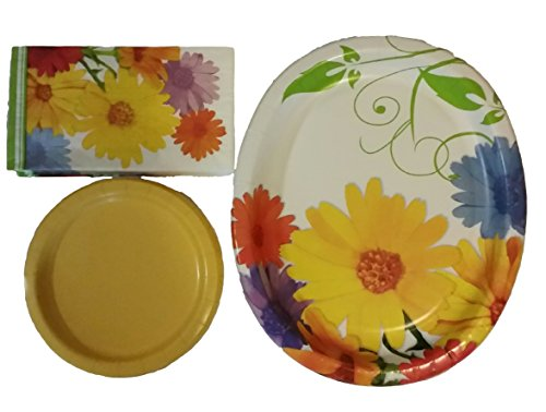 Spring Daisies Party Disposable Dinnerware Bundle - 16 Floral Oval Dinner Platters, 24 Solid Dessert Plates, 24 Floral Napkins -