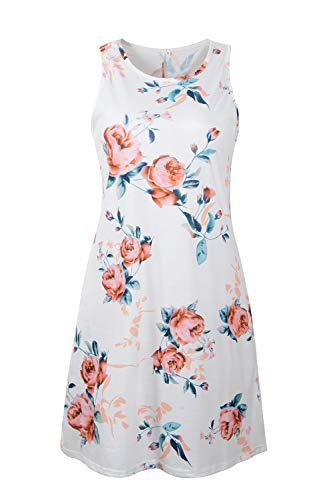 Genhoo Women Summer Casual Sleeveless Floral Printed Swing T Shirts Dress Sundress with Pocket