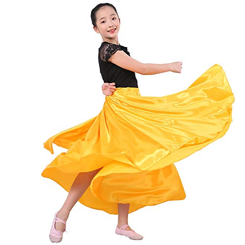 Costumes For Halloween Dances (SANCAN Girls Children Dance Performance Skirt for Belly Practise Halloween Cosplay Costume (Yellow,)