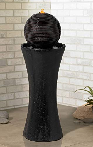 "John Timberland Dark Sphere 35 1/2"" High Modern Pillar Bubbler Fountain"