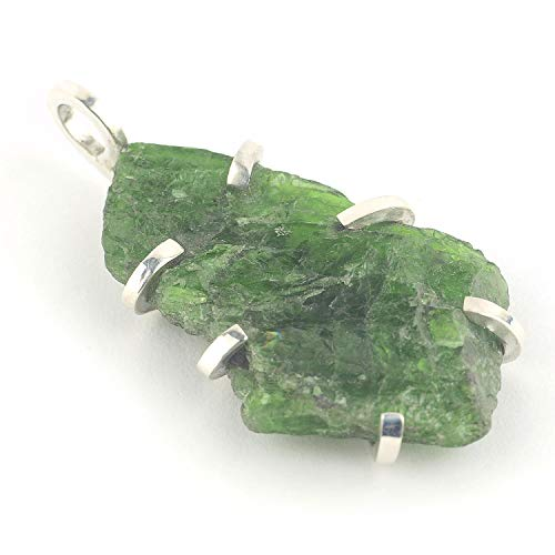 Diopside Pendant Set - Russian raw chrome diopside green crystal pendant set in sterling silver and size of 1.3x0.83x0.28 inch approx.