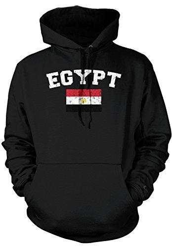 Amdesco Men's Egyptian Flag, Flag of Egypt Hooded Sweatshirt