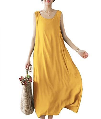YESNO Girls Casual Flowy Tank Dresses Loose Summer Beach Sun Dress EHG (M, EHG Yellow)