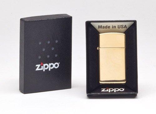Zippo Slim Pocket Lighter, High Polish Brass