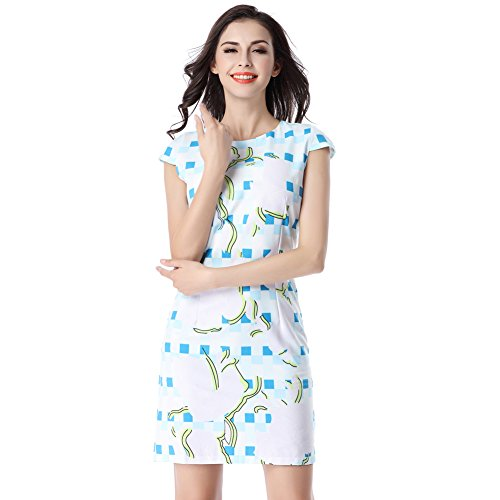 Glorria Women Elegant Plaid Print Short Cap Sleeve Dress Summer Casual Fashion Wear to Work Business Party Pencil Dresses