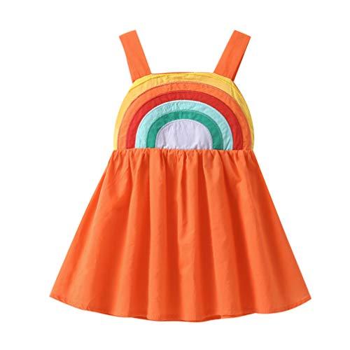 Toddler Kids Baby Girls Summer Dress Rainbow Print Sleeveless Straps Backless Casual Tutu Dresses Costume (Orange, 4-5T)