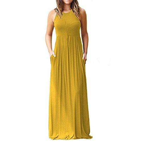 PRIMODA Women's Casual Long Dresses Sleeveless Tank Tunic Plain Maxi Dresses with Pockets(Yellow,M)