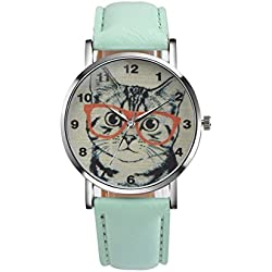 Womens Quartz Watch COOKI Clearance Cat Analog Female Watches Lady Watches on Sale Leather Watch-H78 (Green)