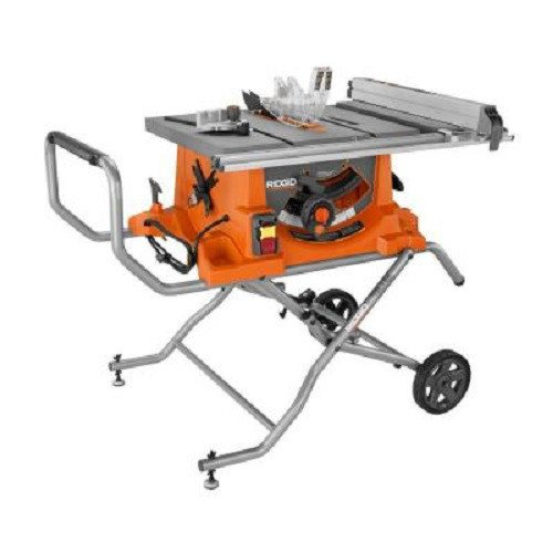 Ridgid ZRR4513 15 Amp 10 in. Portable Table Saw with Mobile Stand (Renewed)