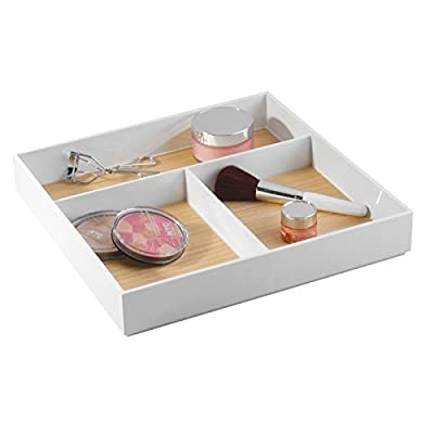 mDesign Bathroom Drawer Organizer for Vanity to Hold Makeup, Beauty Products - 3 Compartments, White/Light Wood Finish -  - organizers, bathroom-accessories, bathroom - 41LvaYPNyxL. SS400  -